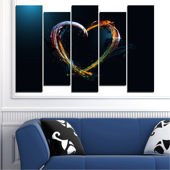 Canvas prints & wall decorative panels - 5 pieces №0272 » Red, Blue, Black, White, Dark grey » Abstraction, Heart, Lines Form #3