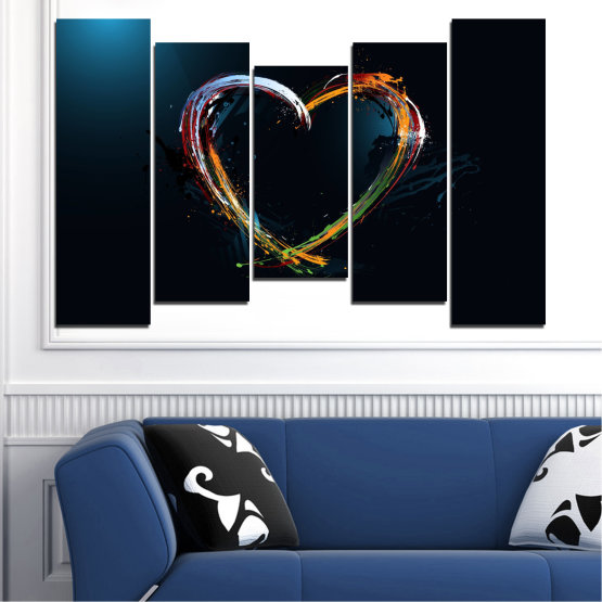 Canvas prints & wall decorative panels - 5 pieces №0272 » Red, Blue, Black, White, Dark grey » Abstraction, Heart, Lines Form #4