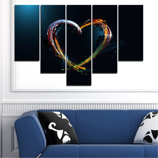 Canvas prints & wall decorative panels - 5 pieces №0272 » Red, Blue, Black, White, Dark grey » Abstraction, Heart, Lines Form #6