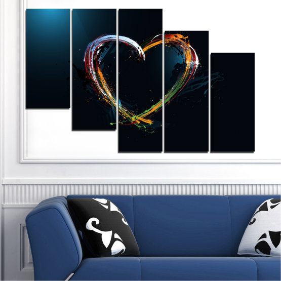 Canvas prints & wall decorative panels - 5 pieces №0272 » Red, Blue, Black, White, Dark grey » Abstraction, Heart, Lines Form #7