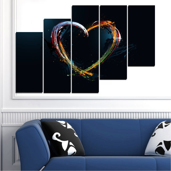Canvas prints & wall decorative panels - 5 pieces №0272 » Red, Blue, Black, White, Dark grey » Abstraction, Heart, Lines Form #8