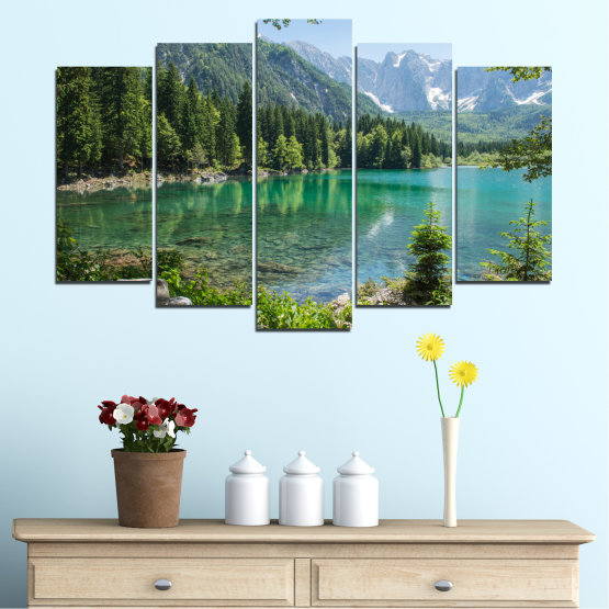 Canvas prints & wall decorative panels - 5 pieces №0273 » Green, Black, Gray, Dark grey » Landscape, Water, Mountain, Forest, Lake, Reflection Form #1