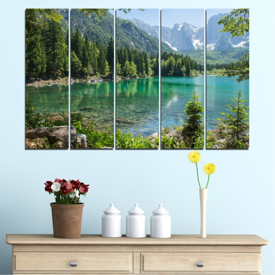 Canvas prints & wall decorative panels - 5 pieces №0273 » Green, Black, Gray, Dark grey » Water, Landscape, Mountain, Forest, Lake, Reflection Form #2