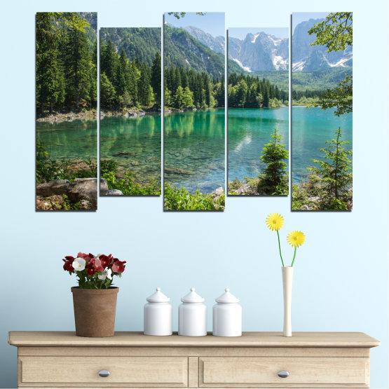 Декоративни панели и картини от канава - от 5 части №0273 » Зелен, Черен, Сив, Тъмно сив » Пейзаж, Вода, Гора, Планина, Езеро, Отражение Form #3