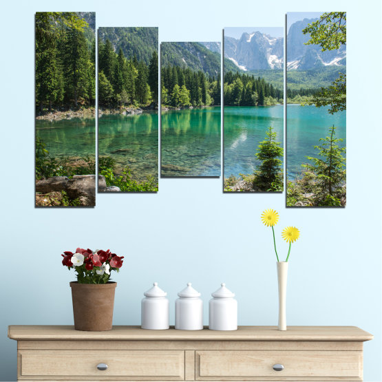 Canvas prints & wall decorative panels - 5 pieces №0273 » Green, Black, Gray, Dark grey » Water, Landscape, Mountain, Forest, Lake, Reflection Form #4