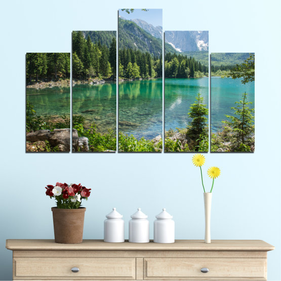 Canvas prints & wall decorative panels - 5 pieces №0273 » Green, Black, Gray, Dark grey » Water, Landscape, Mountain, Forest, Lake, Reflection Form #5