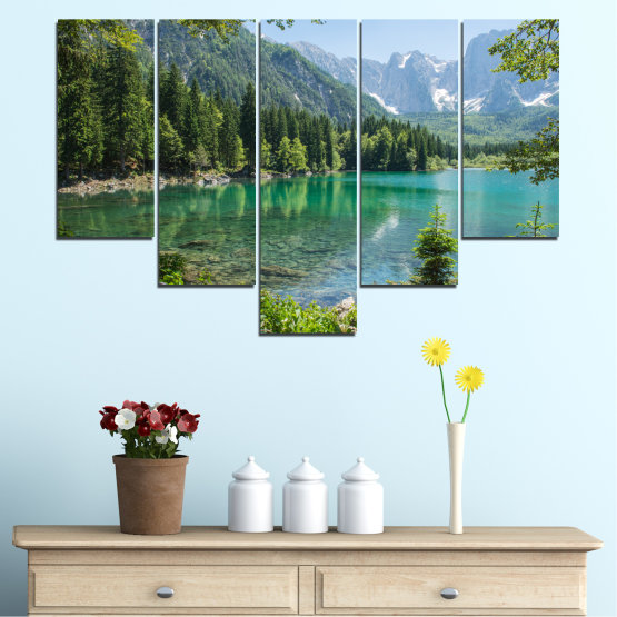 Canvas prints & wall decorative panels - 5 pieces №0273 » Green, Black, Gray, Dark grey » Landscape, Forest, Water, Mountain, Reflection, Lake Form #6