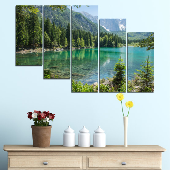 Canvas prints & wall decorative panels - 5 pieces №0273 » Green, Black, Gray, Dark grey » Water, Landscape, Mountain, Forest, Lake, Reflection Form #7