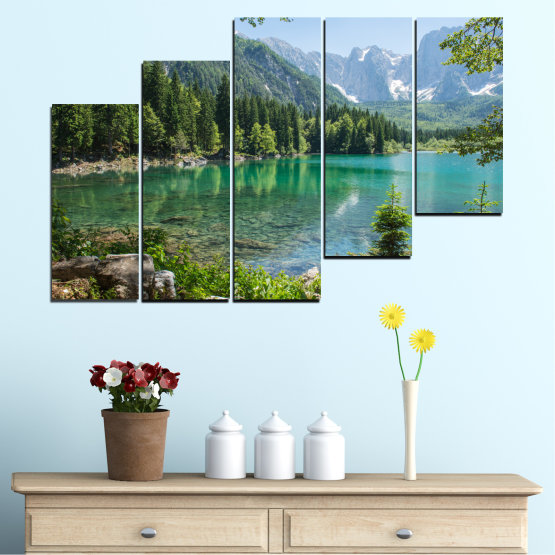 Canvas prints & wall decorative panels - 5 pieces №0273 » Green, Black, Gray, Dark grey » Water, Landscape, Mountain, Forest, Lake, Reflection Form #8