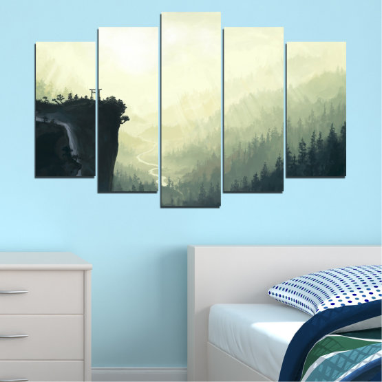 Canvas prints & wall decorative panels - 5 pieces №0274 » Black, Gray, White, Beige, Dark grey » Nature, Forest, Mountain, Rocks Form #1
