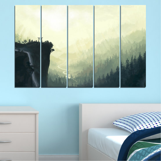 Canvas prints & wall decorative panels - 5 pieces №0274 » Black, Gray, White, Beige, Dark grey » Nature, Forest, Mountain, Rocks Form #2