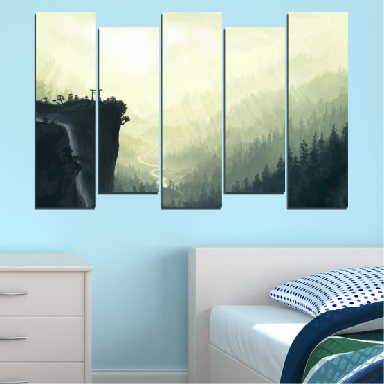 Canvas prints & wall decorative panels - 5 pieces №0274 » Black, Gray, White, Beige, Dark grey » Nature, Forest, Mountain, Rocks Form #3