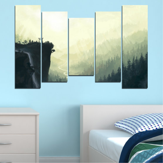 Canvas prints & wall decorative panels - 5 pieces №0274 » Black, Gray, White, Beige, Dark grey » Nature, Forest, Mountain, Rocks Form #4