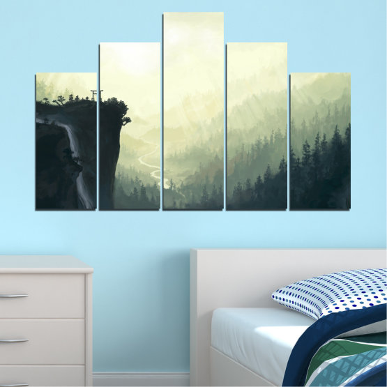 Canvas prints & wall decorative panels - 5 pieces №0274 » Black, Gray, White, Beige, Dark grey » Nature, Forest, Mountain, Rocks Form #5