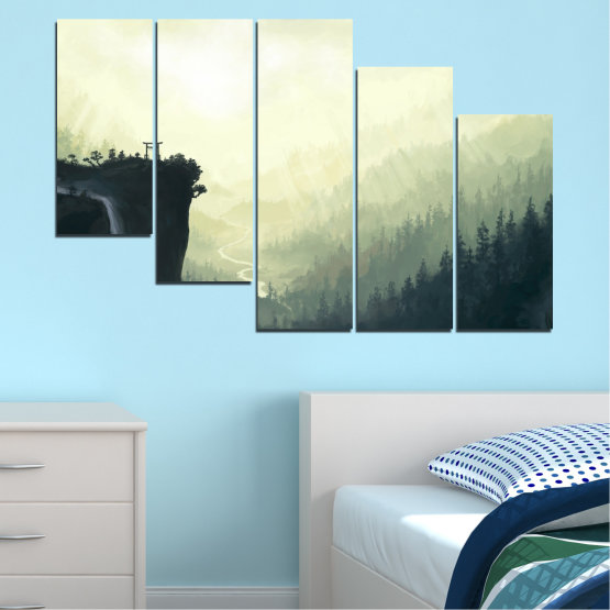 Canvas prints & wall decorative panels - 5 pieces №0274 » Black, Gray, White, Beige, Dark grey » Nature, Forest, Mountain, Rocks Form #7