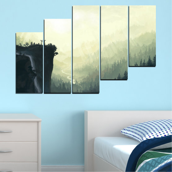 Canvas prints & wall decorative panels - 5 pieces №0274 » Black, Gray, White, Beige, Dark grey » Nature, Forest, Mountain, Rocks Form #8