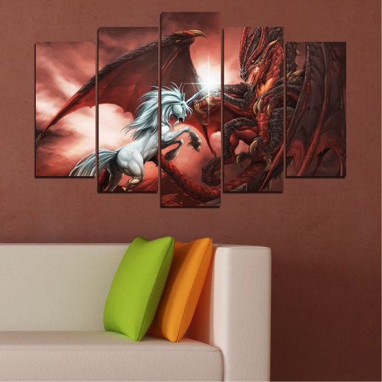 Canvas prints & wall decorative panels - 5 pieces №0275 » Orange, Brown, Black, Dark grey » Animal, Dragon, Unicorn Form #1