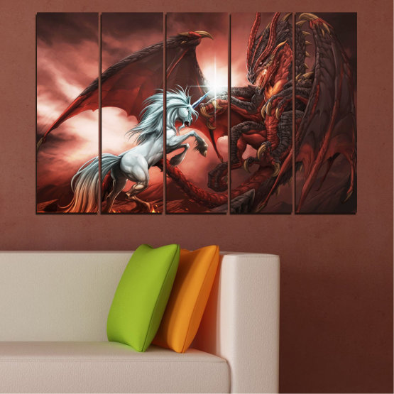 Canvas prints & wall decorative panels - 5 pieces №0275 » Orange, Brown, Black, Dark grey » Animal, Dragon, Unicorn Form #2