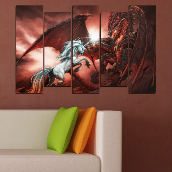 Canvas prints & wall decorative panels - 5 pieces №0275 » Orange, Brown, Black, Dark grey » Animal, Dragon, Unicorn Form #3