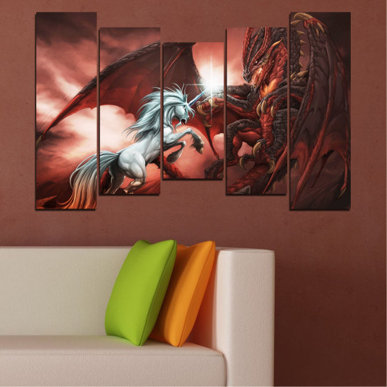 Canvas prints & wall decorative panels - 5 pieces №0275 » Orange, Brown, Black, Dark grey » Animal, Dragon, Unicorn Form #4