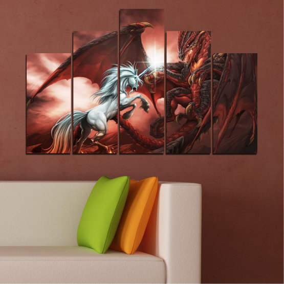 Canvas prints & wall decorative panels - 5 pieces №0275 » Orange, Brown, Black, Dark grey » Animal, Dragon, Unicorn Form #5