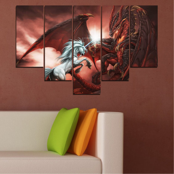 Canvas prints & wall decorative panels - 5 pieces №0275 » Orange, Brown, Black, Dark grey » Animal, Dragon, Unicorn Form #6
