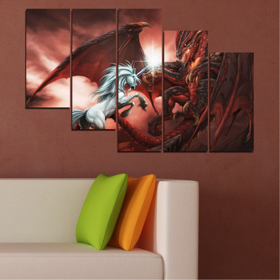Canvas prints & wall decorative panels - 5 pieces №0275 » Orange, Brown, Black, Dark grey » Animal, Dragon, Unicorn Form #7