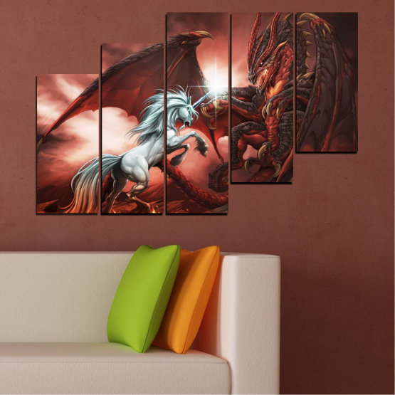 Canvas prints & wall decorative panels - 5 pieces №0275 » Orange, Brown, Black, Dark grey » Animal, Dragon, Unicorn Form #8