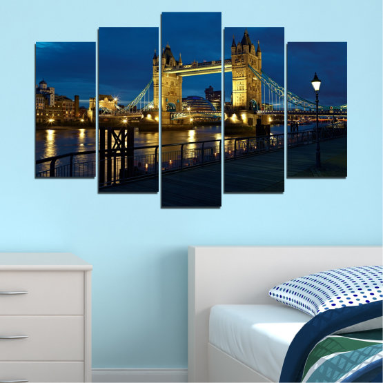Canvas prints & wall decorative panels - 5 pieces №0276 » Blue, Brown, Black, Dark grey » Lights, Night, Bridge, Capital, Great britain Form #1