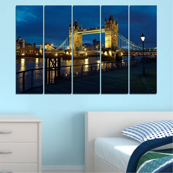 Canvas prints & wall decorative panels - 5 pieces №0276 » Blue, Brown, Black, Dark grey » Lights, Night, Bridge, Capital, Great britain Form #2