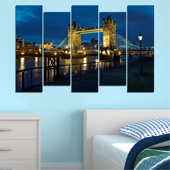 Canvas prints & wall decorative panels - 5 pieces №0276 » Blue, Brown, Black, Dark grey » Lights, Night, Bridge, Capital, Great britain Form #3