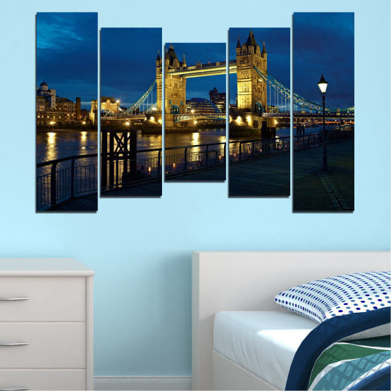 Canvas prints & wall decorative panels - 5 pieces №0276 » Blue, Brown, Black, Dark grey » Lights, Night, Bridge, Capital, Great britain Form #4
