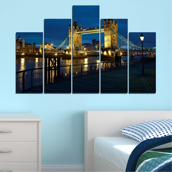 Canvas prints & wall decorative panels - 5 pieces №0276 » Blue, Brown, Black, Dark grey » Lights, Night, Bridge, Capital, Great britain Form #5
