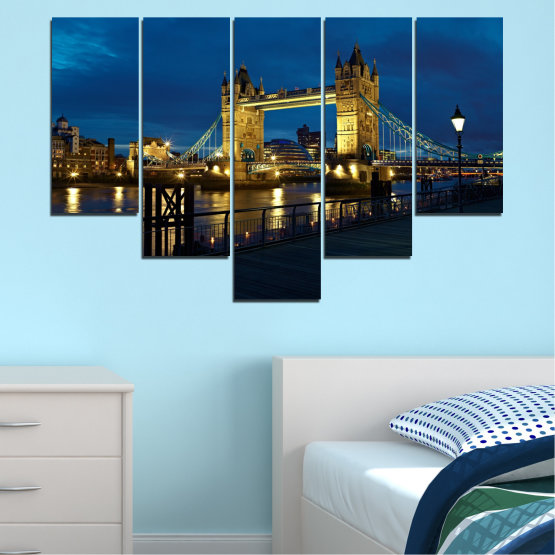 Canvas prints & wall decorative panels - 5 pieces №0276 » Blue, Brown, Black, Dark grey » Lights, Night, Bridge, Capital, Great britain Form #6