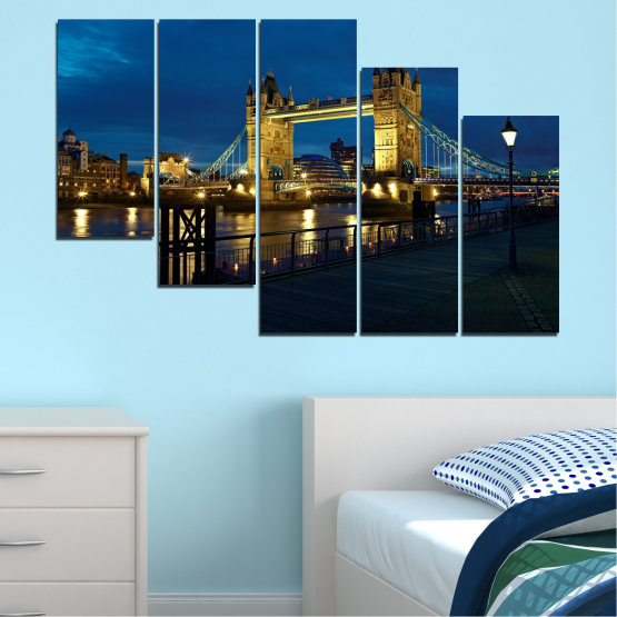 Canvas prints & wall decorative panels - 5 pieces №0276 » Blue, Brown, Black, Dark grey » Lights, Night, Bridge, Capital, Great britain Form #7