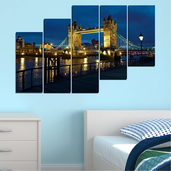Canvas prints & wall decorative panels - 5 pieces №0276 » Blue, Brown, Black, Dark grey » Lights, Night, Bridge, Capital, Great britain Form #8