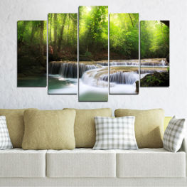 Nature, Water, Landscape, Waterfall, Forest » Green, Black, Gray, Dark grey