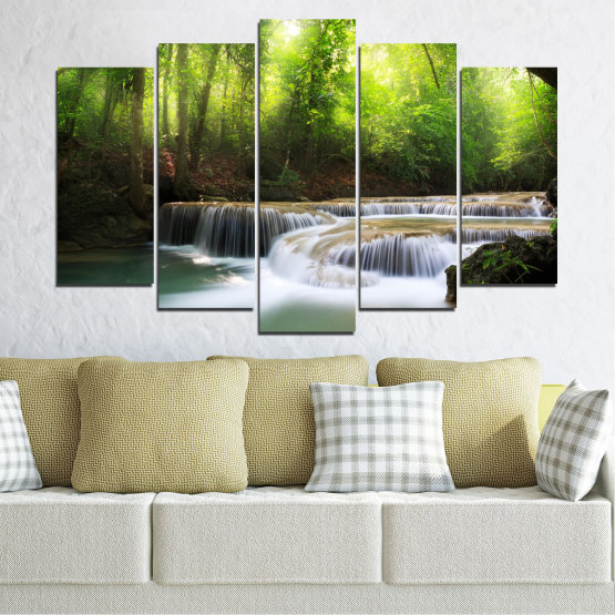 Canvas prints & wall decorative panels - 5 pieces №0277 » Green, Black, Gray, Dark grey » Nature, Landscape, Forest, Waterfall, Water Form #1