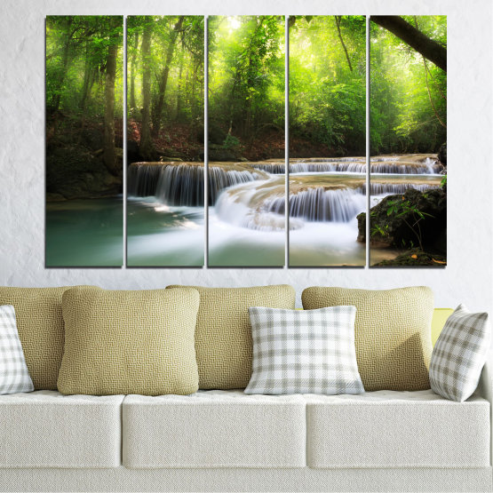 Canvas prints & wall decorative panels - 5 pieces №0277 » Green, Black, Gray, Dark grey » Nature, Landscape, Forest, Waterfall, Water Form #2