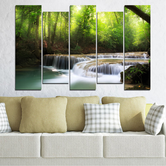 Canvas prints & wall decorative panels - 5 pieces №0277 » Green, Black, Gray, Dark grey » Nature, Landscape, Forest, Waterfall, Water Form #3