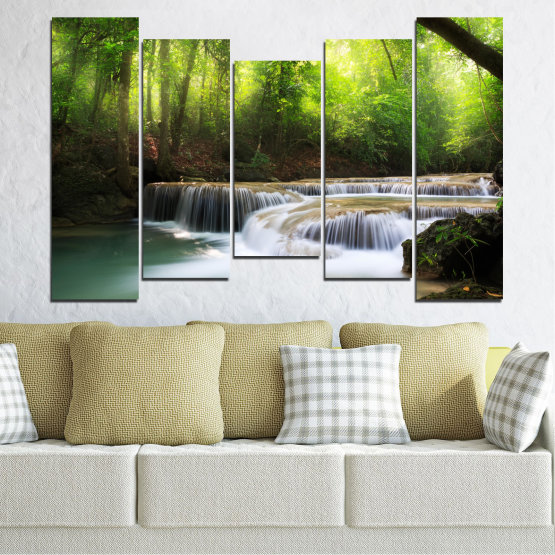 Canvas prints & wall decorative panels - 5 pieces №0277 » Green, Black, Gray, Dark grey » Nature, Landscape, Forest, Waterfall, Water Form #4