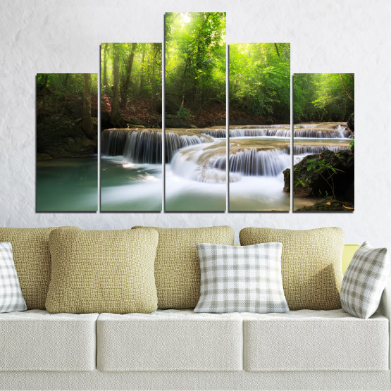 Canvas prints & wall decorative panels - 5 pieces №0277 » Green, Black, Gray, Dark grey » Nature, Landscape, Forest, Waterfall, Water Form #5
