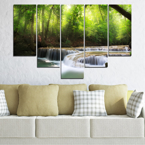 Canvas prints & wall decorative panels - 5 pieces №0277 » Green, Black, Gray, Dark grey » Nature, Landscape, Forest, Waterfall, Water Form #6