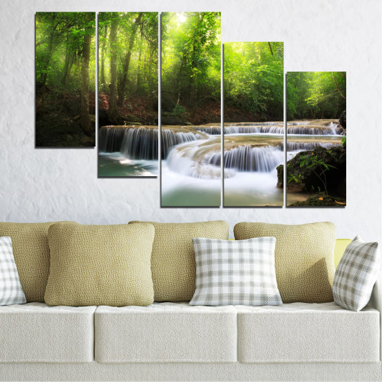 Canvas prints & wall decorative panels - 5 pieces №0277 » Green, Black, Gray, Dark grey » Nature, Landscape, Forest, Waterfall, Water Form #7