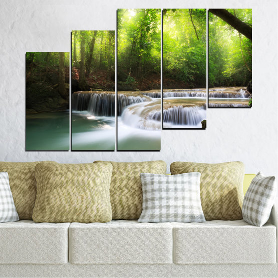 Canvas prints & wall decorative panels - 5 pieces №0277 » Green, Black, Gray, Dark grey » Nature, Landscape, Forest, Waterfall, Water Form #8