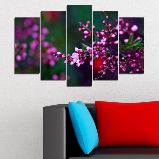 Εκτύπωση σε καμβά και διακοσμητικά πάνελ τοίχου - 5 τεμάχια №0278 » Κόκκινος, Μωβ, Πράσινος, Μαύρος, Σκούρο γκρι » Λουλούδια, Άνοιξη, Φρέσκο Form #1