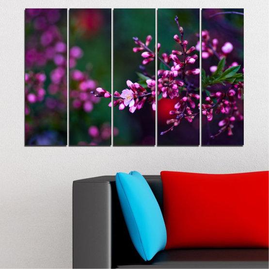 Εκτύπωση σε καμβά και διακοσμητικά πάνελ τοίχου - 5 τεμάχια №0278 » Κόκκινος, Μωβ, Πράσινος, Μαύρος, Σκούρο γκρι » Λουλούδια, Άνοιξη, Φρέσκο Form #2