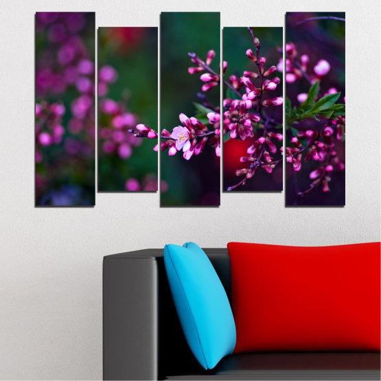 Εκτύπωση σε καμβά και διακοσμητικά πάνελ τοίχου - 5 τεμάχια №0278 » Κόκκινος, Μωβ, Πράσινος, Μαύρος, Σκούρο γκρι » Λουλούδια, Άνοιξη, Φρέσκο Form #3
