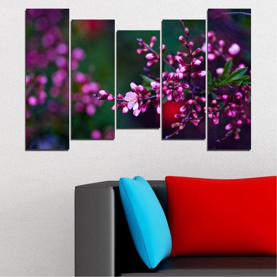 Εκτύπωση σε καμβά και διακοσμητικά πάνελ τοίχου - 5 τεμάχια №0278 » Κόκκινος, Μωβ, Πράσινος, Μαύρος, Σκούρο γκρι » Λουλούδια, Άνοιξη, Φρέσκο Form #4