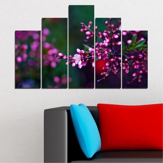Εκτύπωση σε καμβά και διακοσμητικά πάνελ τοίχου - 5 τεμάχια №0278 » Κόκκινος, Μωβ, Πράσινος, Μαύρος, Σκούρο γκρι » Λουλούδια, Άνοιξη, Φρέσκο Form #5